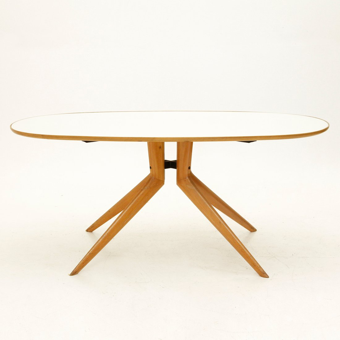 Oval Wooden Dining Table With Glass Top 1950s For Sale At Pamono