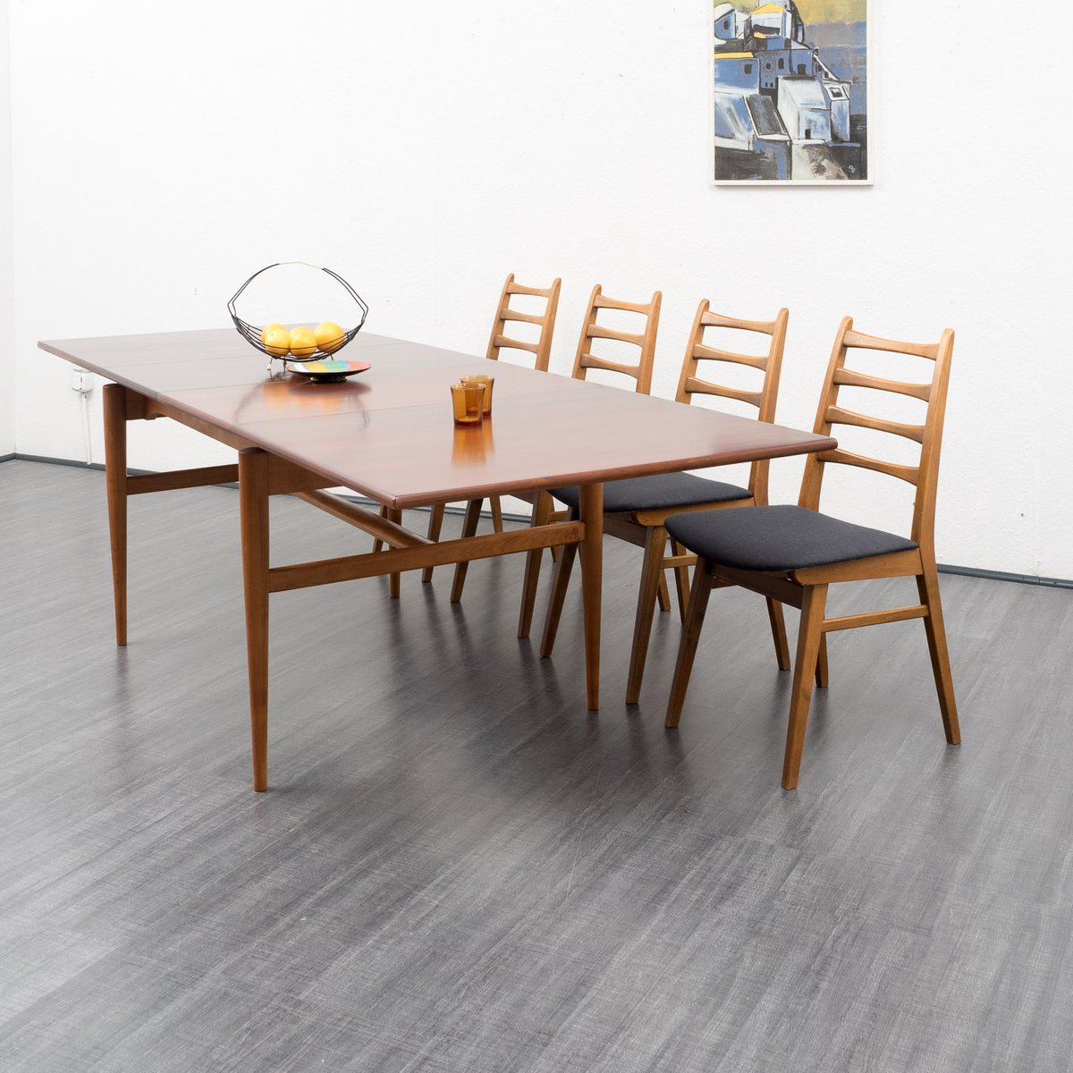 extendible cherry dining table 1960s for sale at pamono. Black Bedroom Furniture Sets. Home Design Ideas