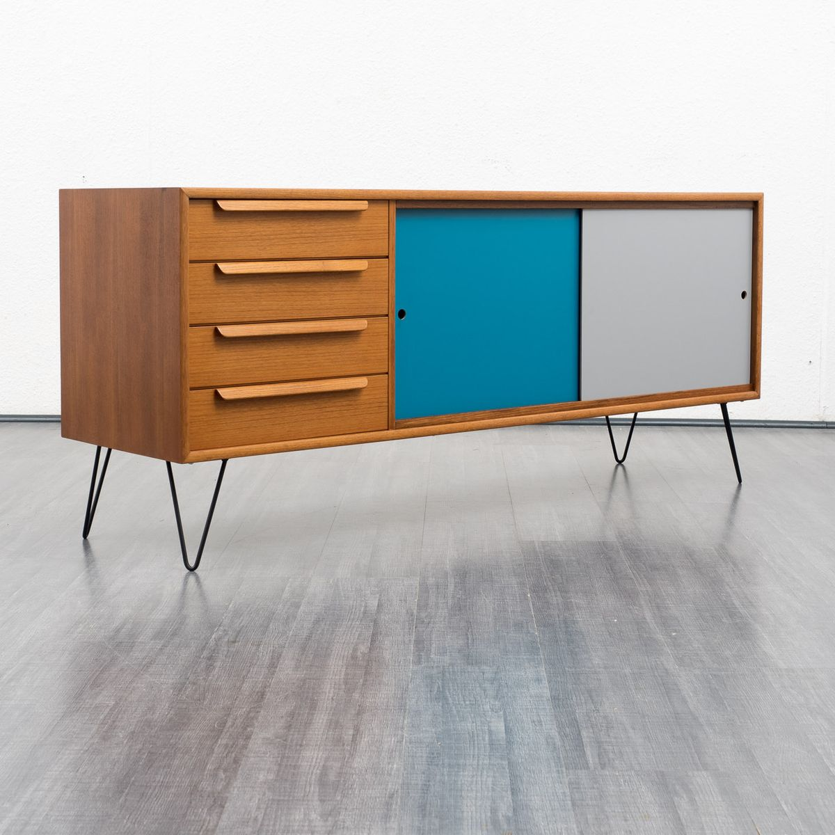 sideboard with colored sliding doors 1960s for sale at pamono. Black Bedroom Furniture Sets. Home Design Ideas