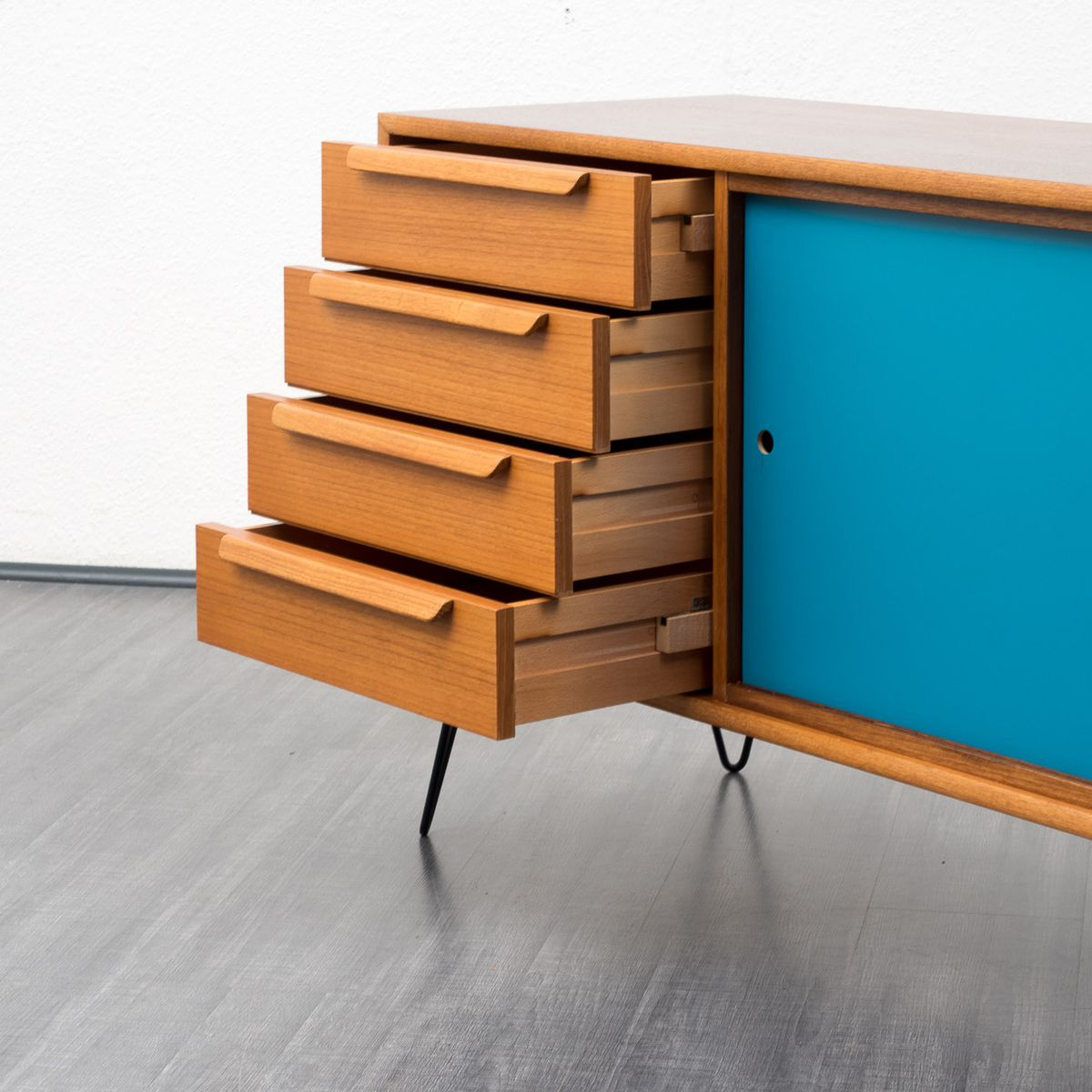 Sideboard with colored sliding doors 1960s for sale at pamono for Sideboard petrol
