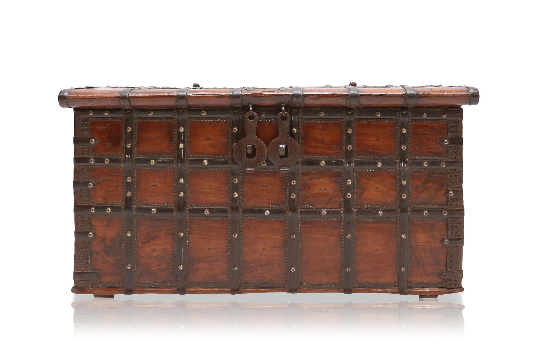 Antique spanish wood metal chest for sale at pamono