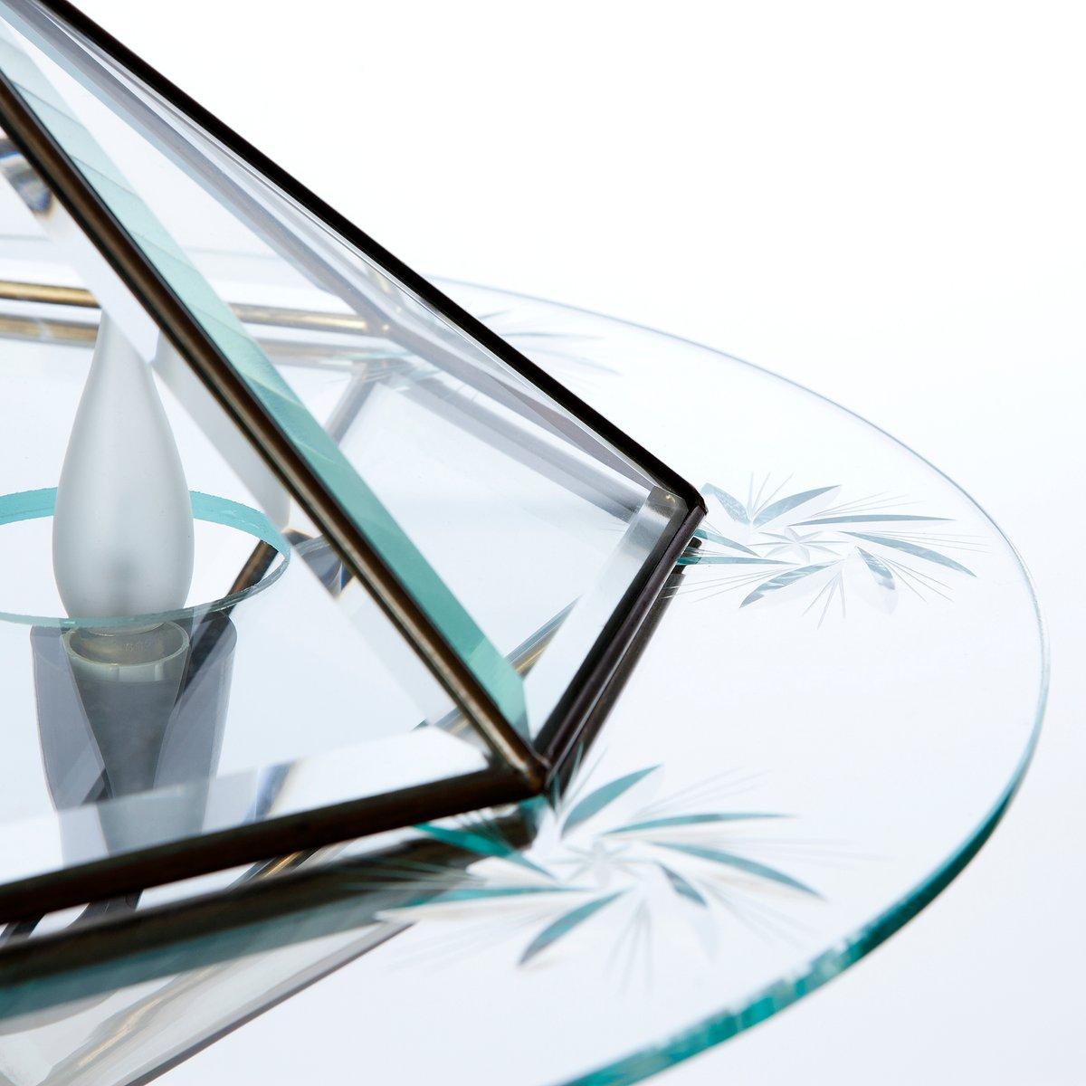 Laterne mit zwei leuchten aus messing glas 1940er bei for Laterne aus glas