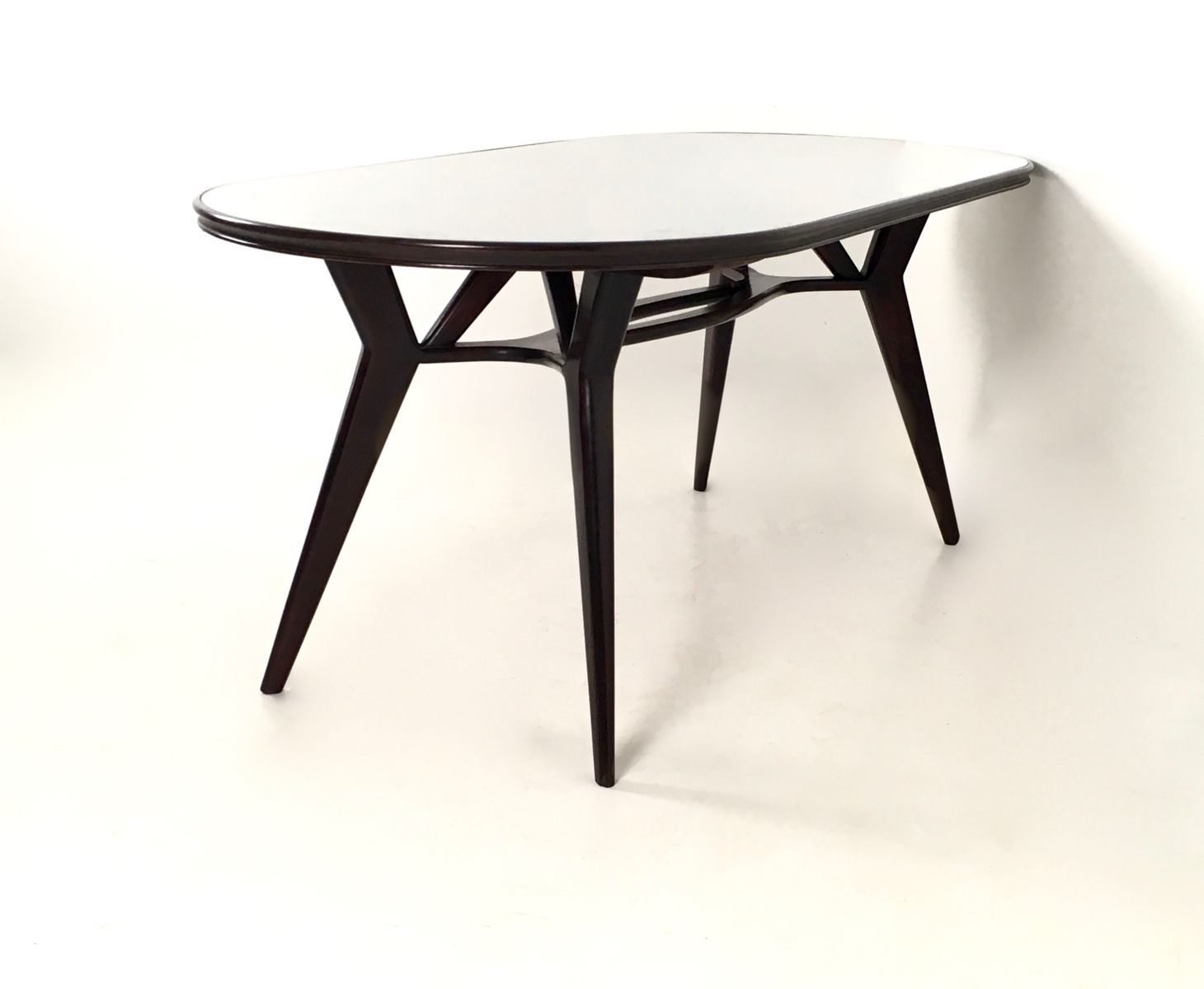 Table de salle à manger en palissandre et en verre, 1950s en vente ...