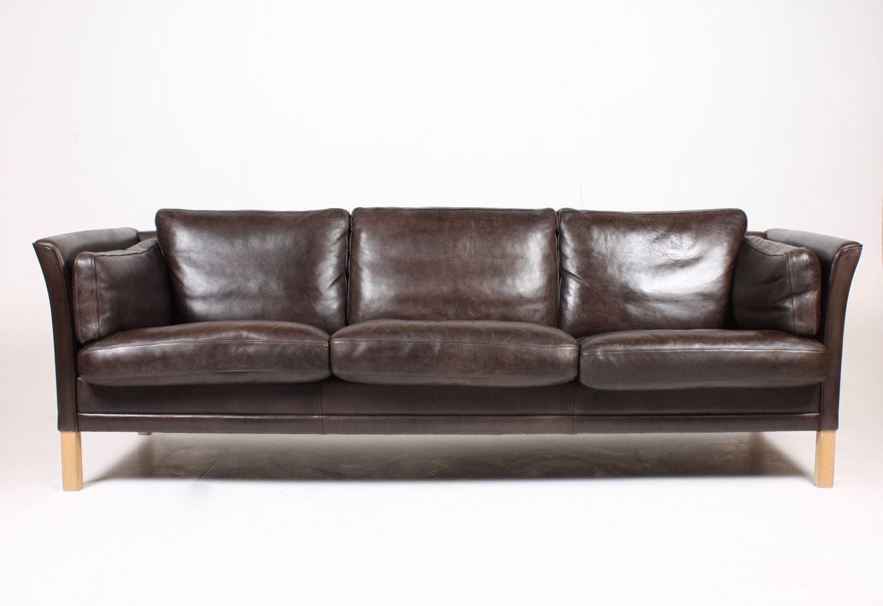 Vintage Danish Three Seater Dark Brown Leather Sofa From Mogens Hansen 1980s For Sale At Pamono