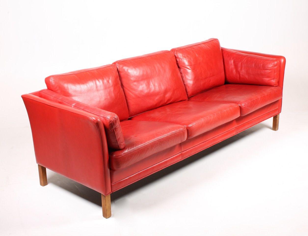 d nisches rotes vintage drei sitzer ledersofa von mogens. Black Bedroom Furniture Sets. Home Design Ideas