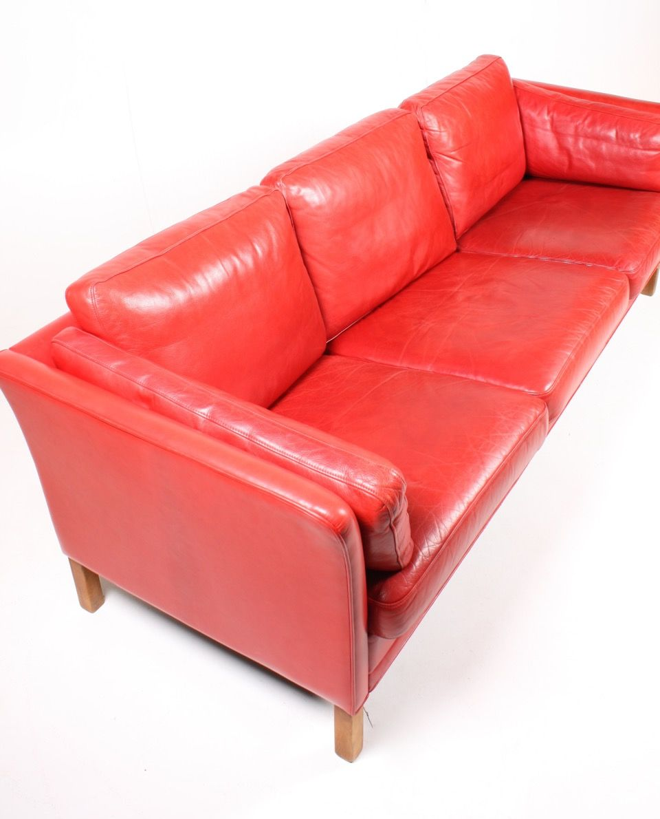 Vintage Danish Three Seater Red Leather Sofa From Mogens