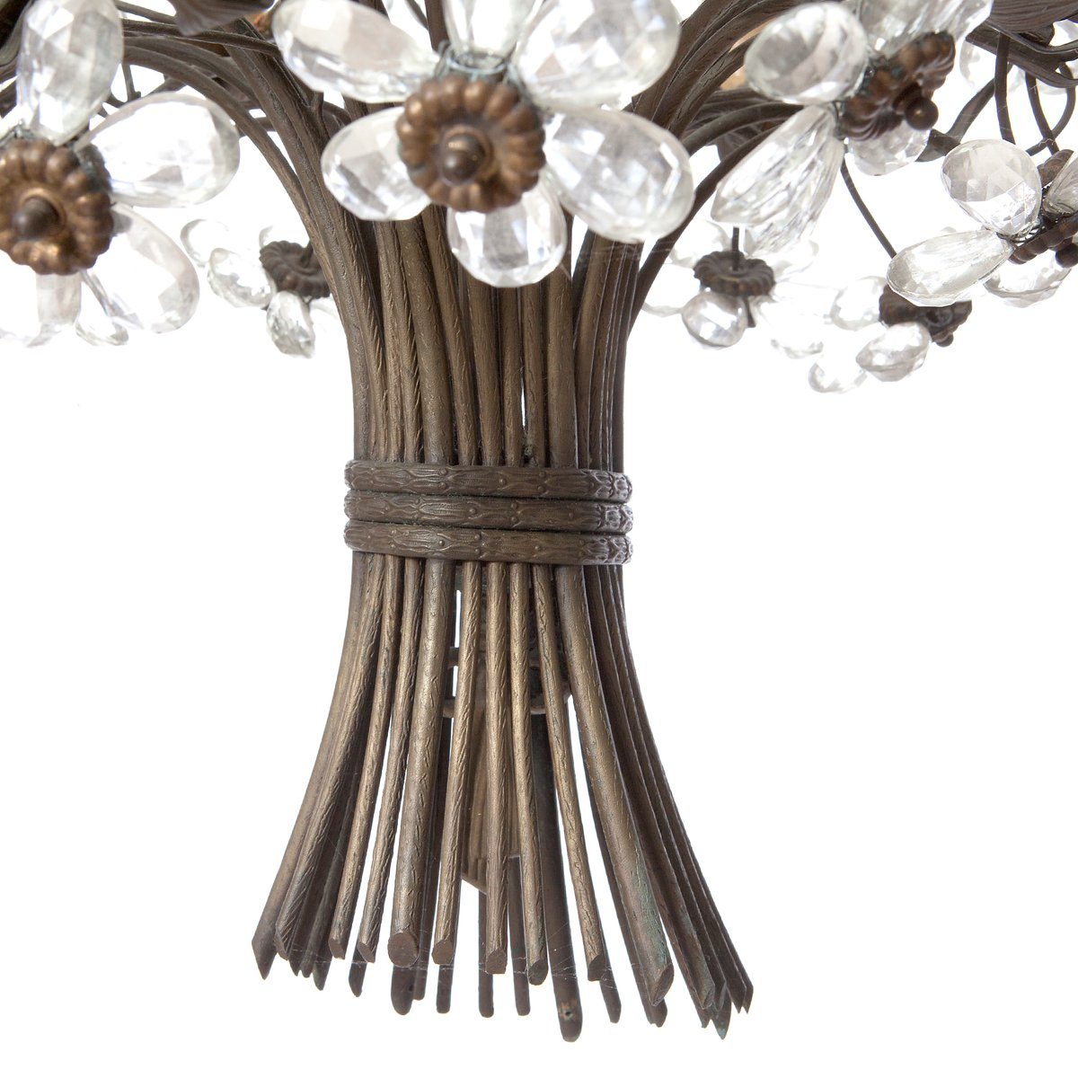 Vintage six light bronze crystal flower chandelier from maison vintage six light bronze crystal flower chandelier from maison bagus arubaitofo Gallery