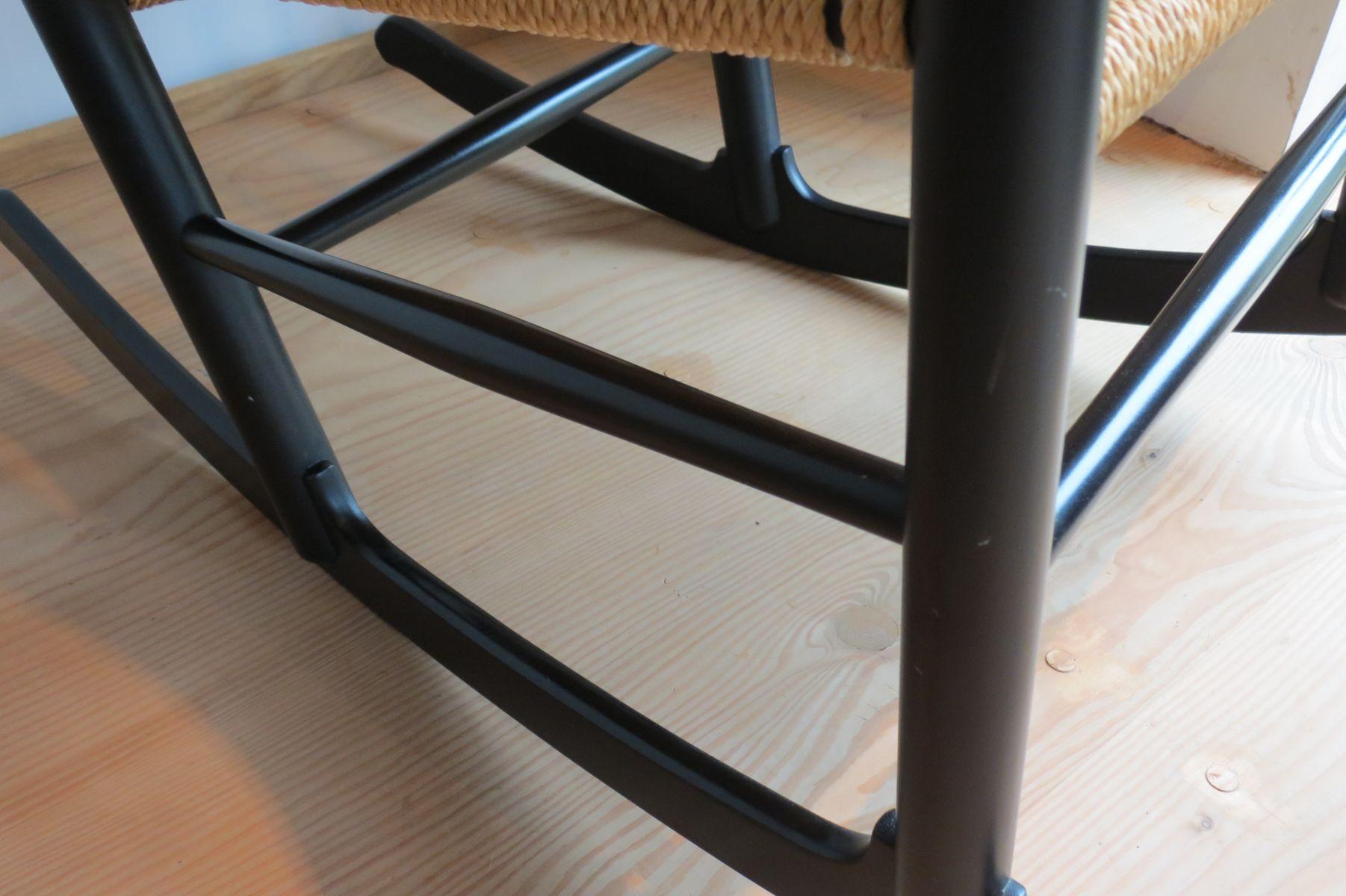 Ebonised J16 Rocking Chair by Hans J. Wegner for FDB Mobler, 1973 ...