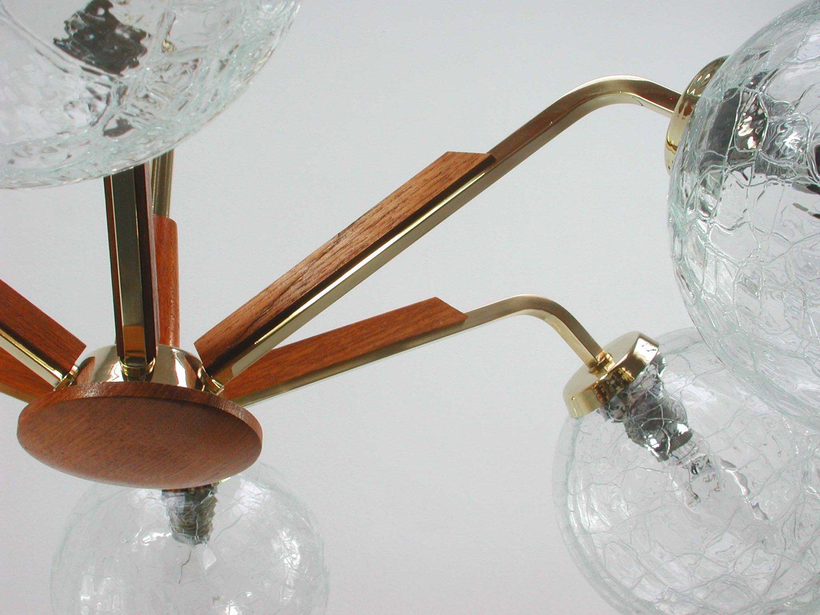 skandinavischer vintage teak und glas kronleuchter 1960er. Black Bedroom Furniture Sets. Home Design Ideas