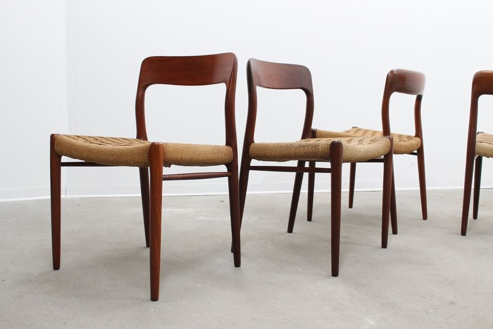 Mid Century Danish Chairs By Niels O Moller 1950s Set Of 4 For Sale At Pamono