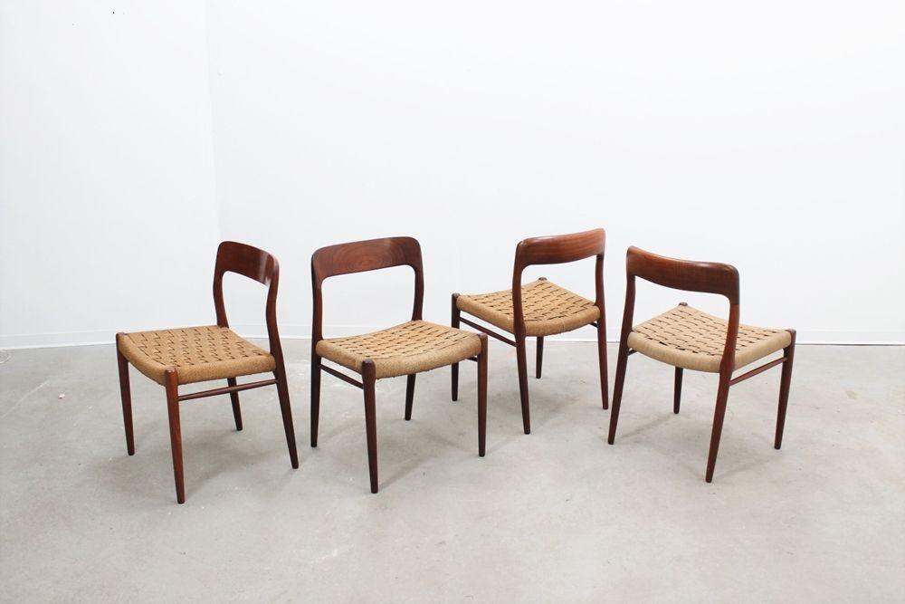 d nische mid century st hle von niels o moller 1950er 4er set bei pamono kaufen. Black Bedroom Furniture Sets. Home Design Ideas