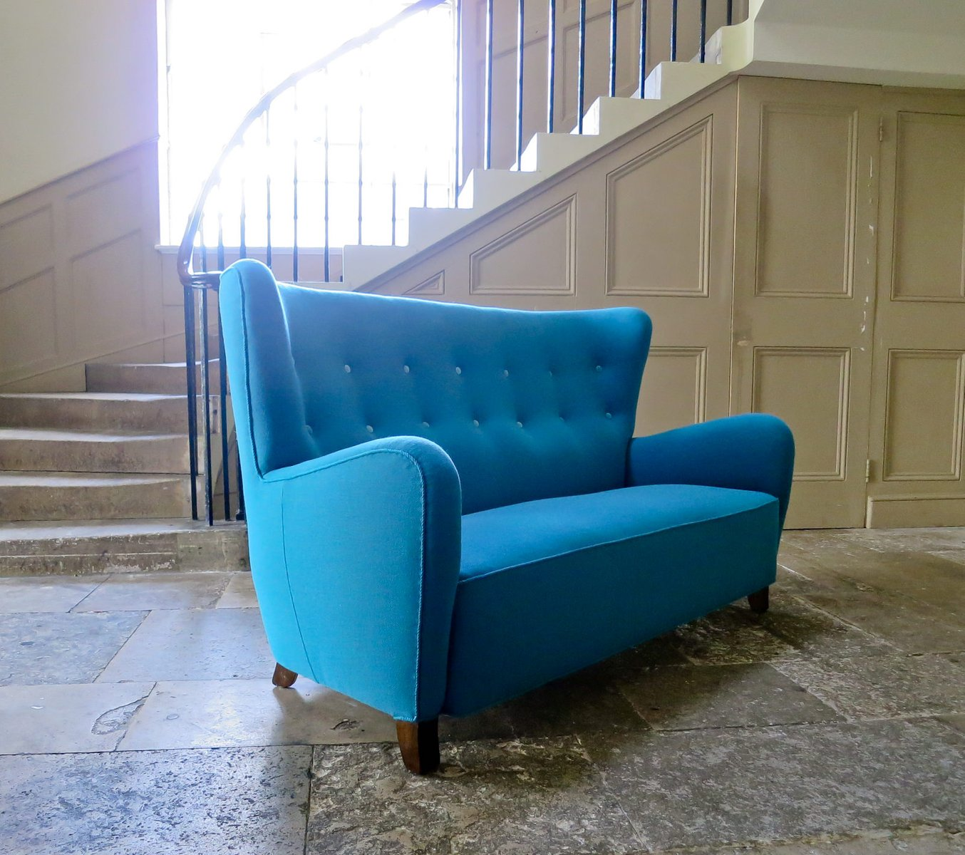 Danish High Back Teal Wool Sofa 1940s for sale at Pamono