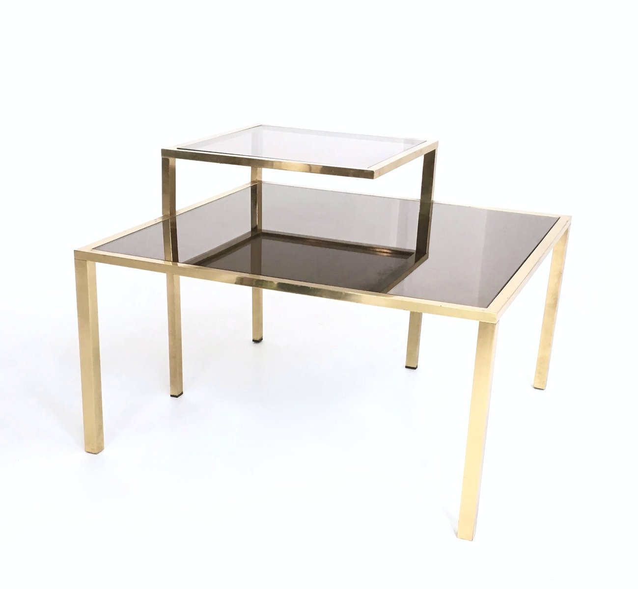 Brass, Glass, And Mirror Glass Coffee Table, 1980s