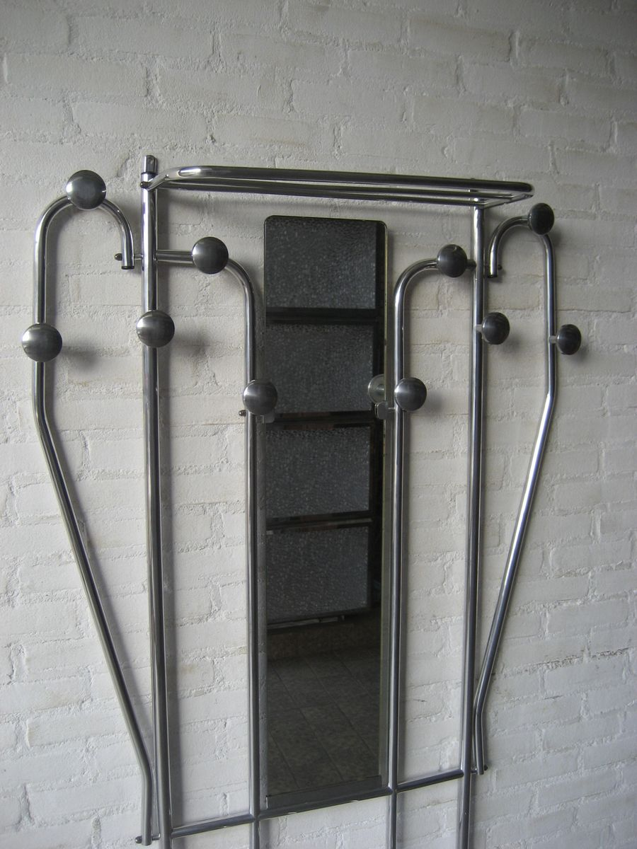 Etagere Ikea Fixation Invisible ~   Aluminum Standing Coat Rack with Umbrella Stand and Mirror, 1930s 4