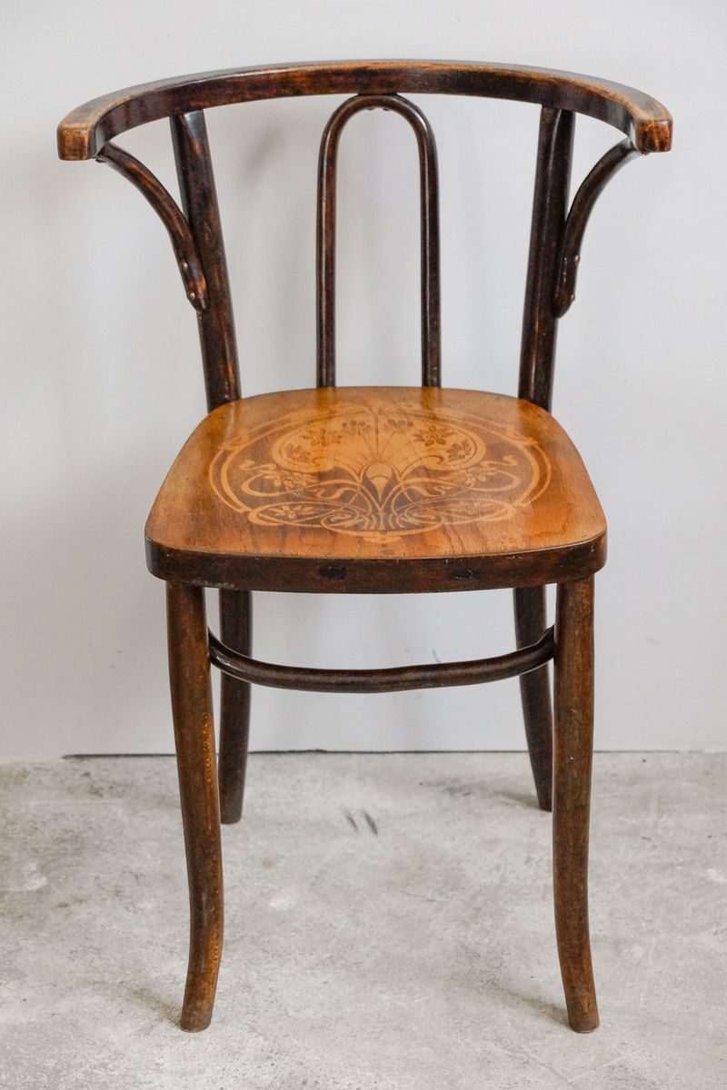 art nouveau bentwood chair with embossed seat 1910s