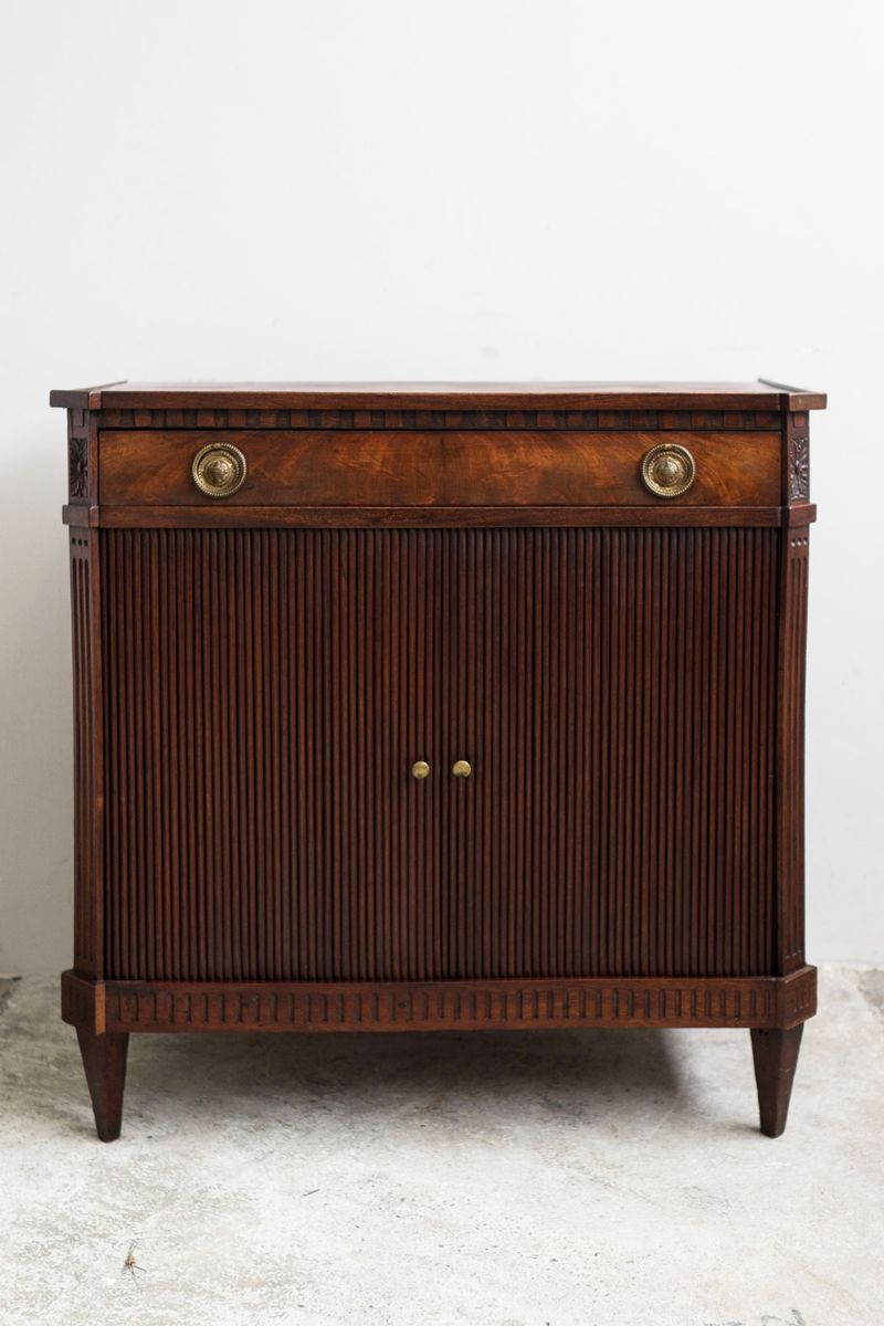 small mahogany veneered empire sideboard with sliding. Black Bedroom Furniture Sets. Home Design Ideas