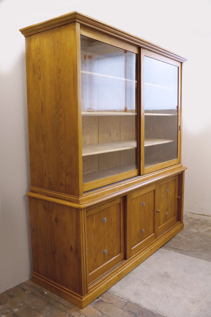 German huge storage cabinet with sliding doors 1910s for for Sliding glass doors germany