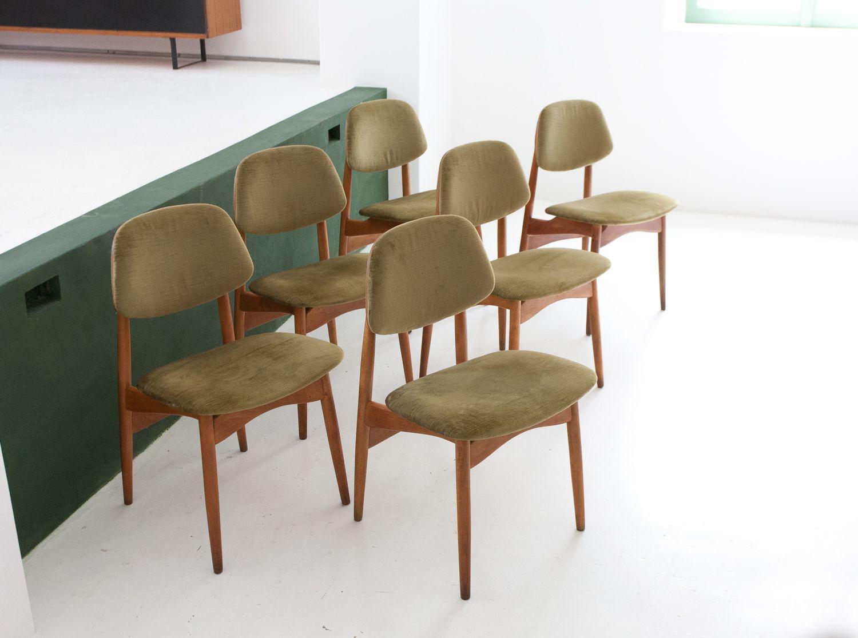 italienische st hle mit samtbezug von proserpio 1950er. Black Bedroom Furniture Sets. Home Design Ideas