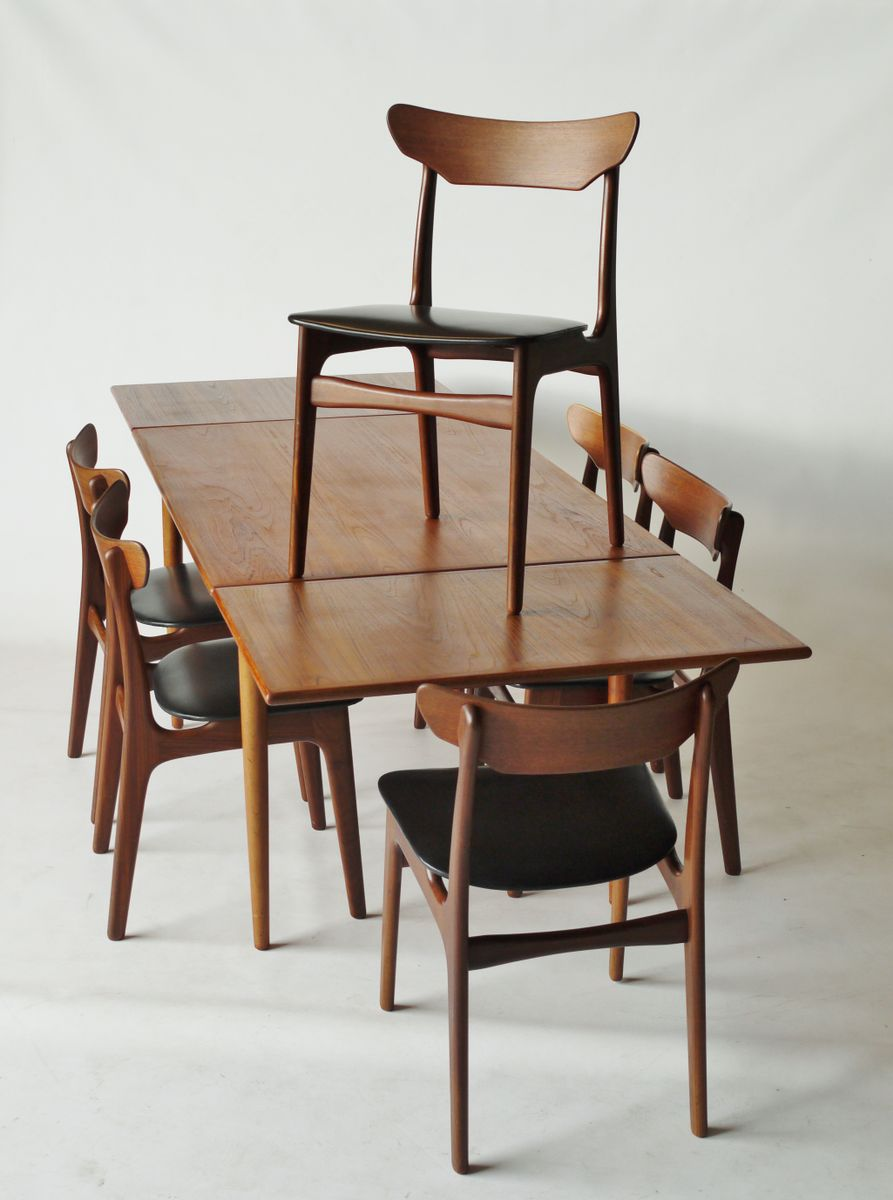 danish walnut teak dining set by schi nning and elgaard for randers