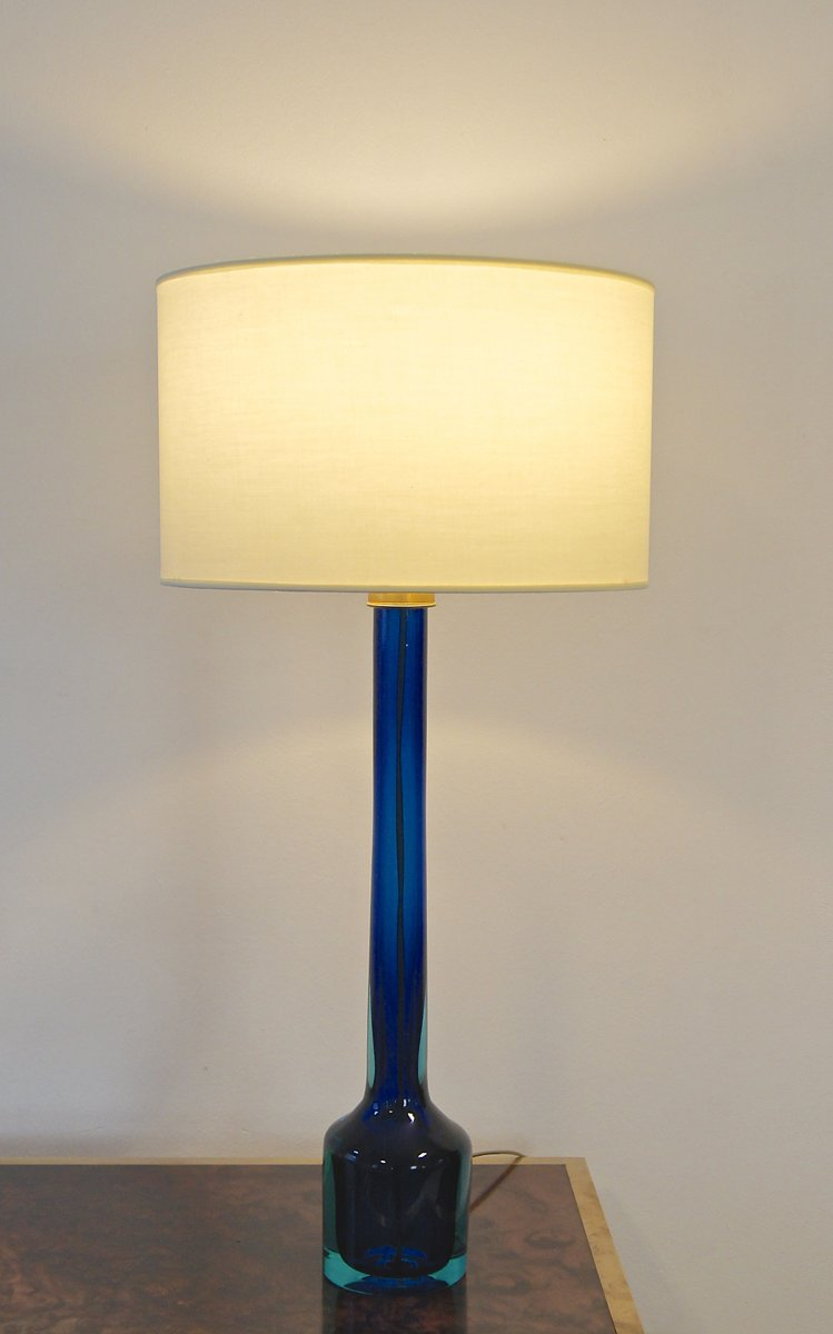 Blue glass table lamps - Blue And Green Murano Glass Table Lamp By Flavio Poli For Seguso 1960s