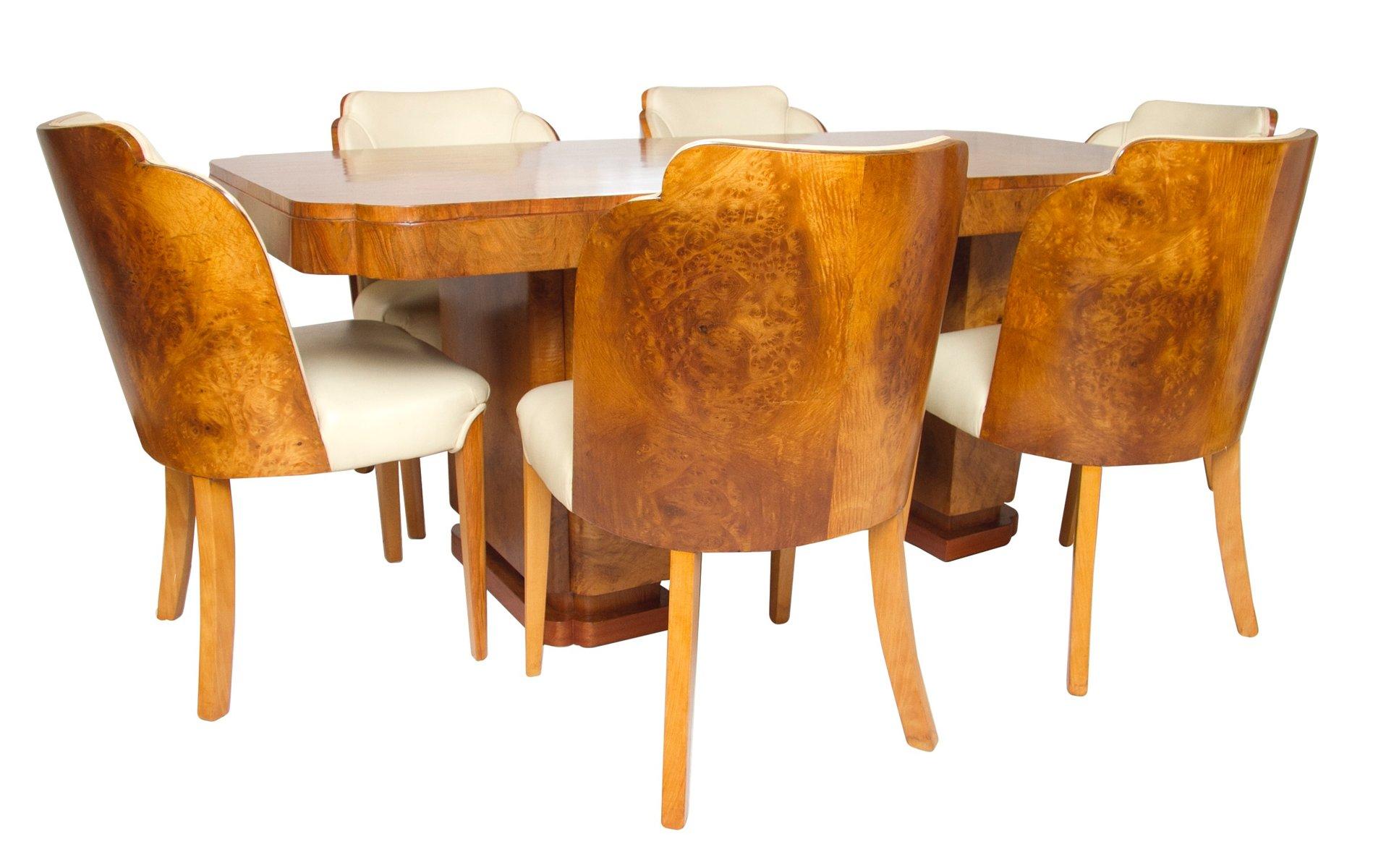 Table de salle manger et chaises art d co nuage par for Salle a manger art deco