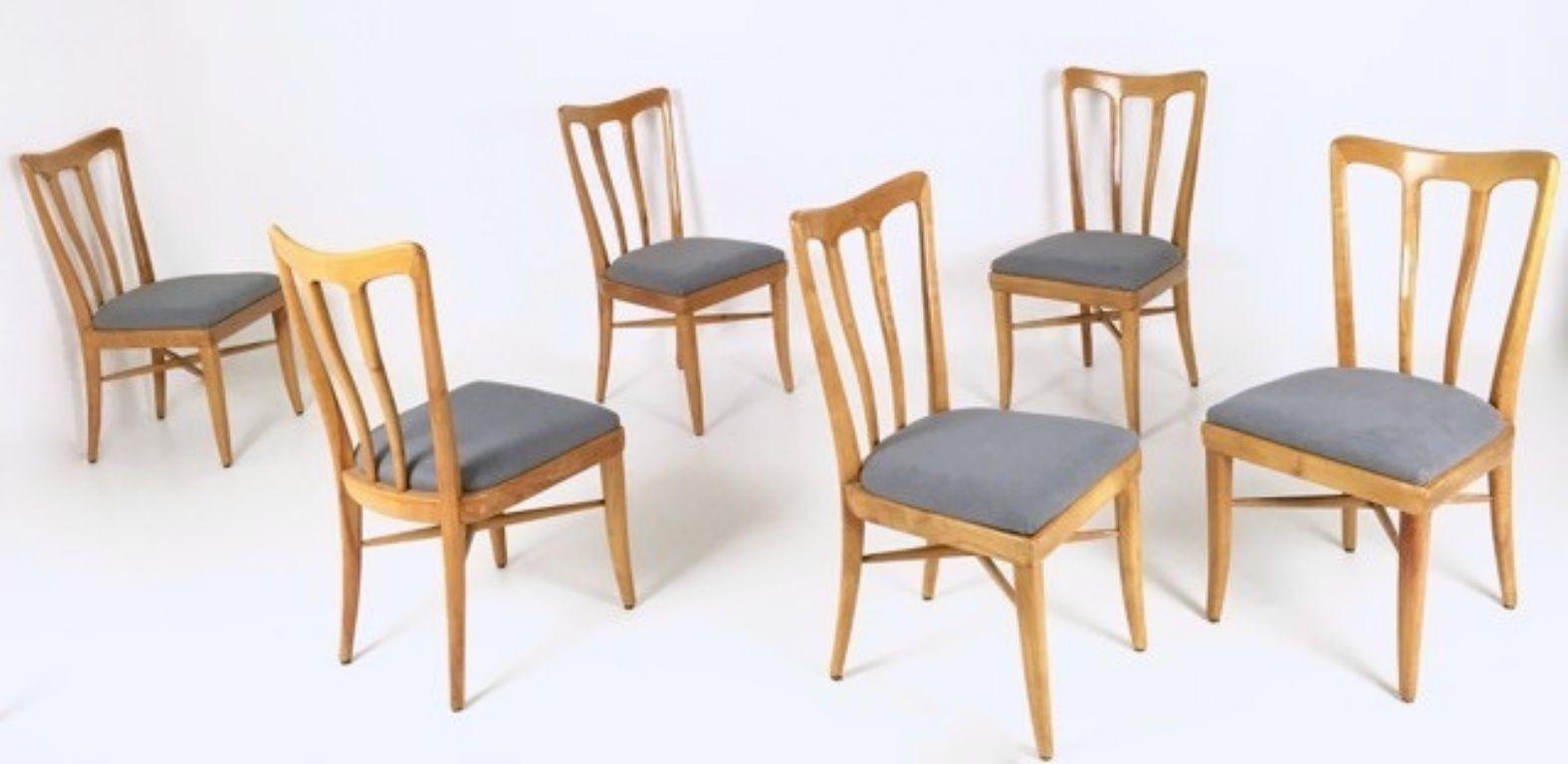 mid century kirschholz esszimmerst hle 1940er 6er set. Black Bedroom Furniture Sets. Home Design Ideas