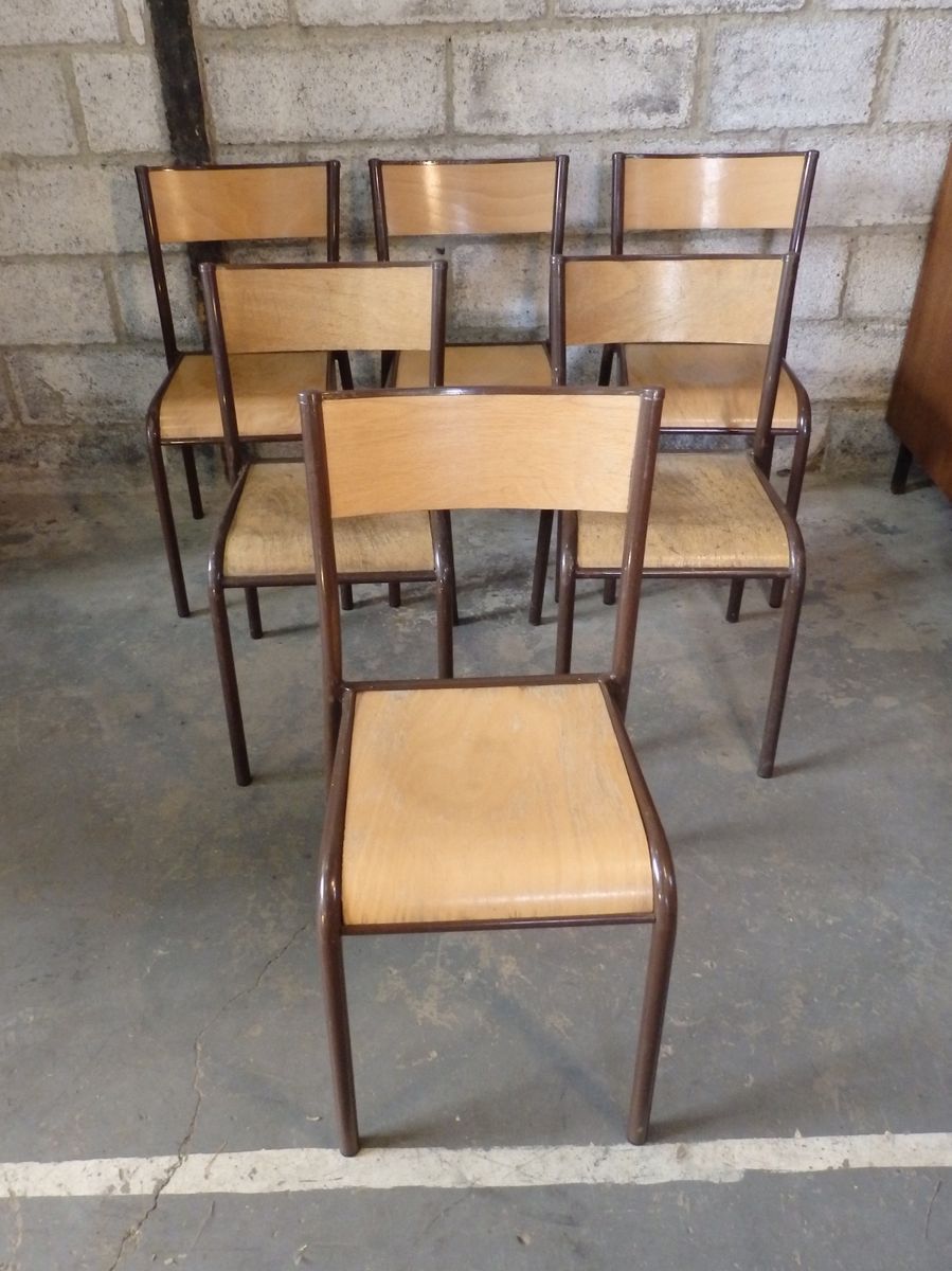 Model 510 school chairs from mullca 1960s set of 6 for for Chaise mullca 510
