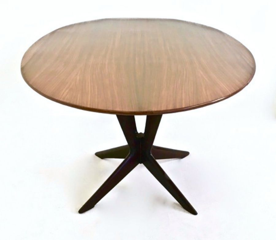 rosewood and beech round dining table 1950s for sale at pamono