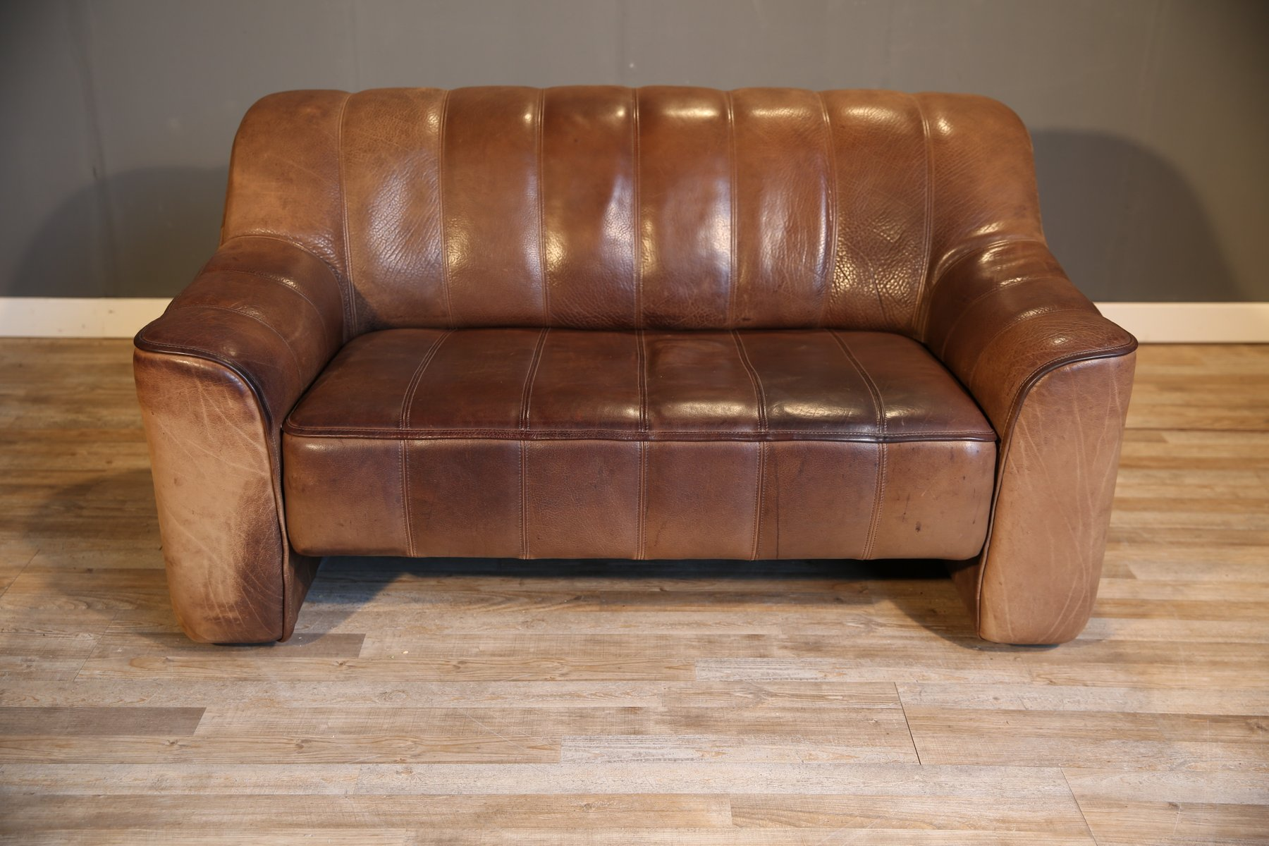 Ds 44 double seat leather sofa from de sede 1970s for for Double leather sofa