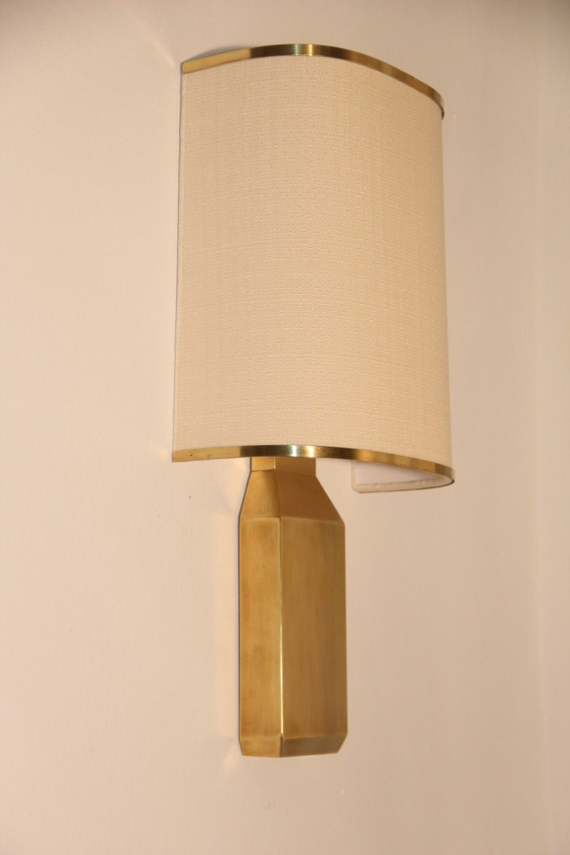 Italian Made Wall Sconces : Italian Brass and Fabric Wall Sconce, 1970 for sale at Pamono