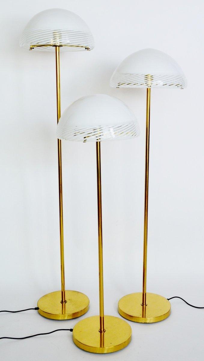 Regency style glass and brass floor lamps from murano for Hyatt 6 light floor lamp brass