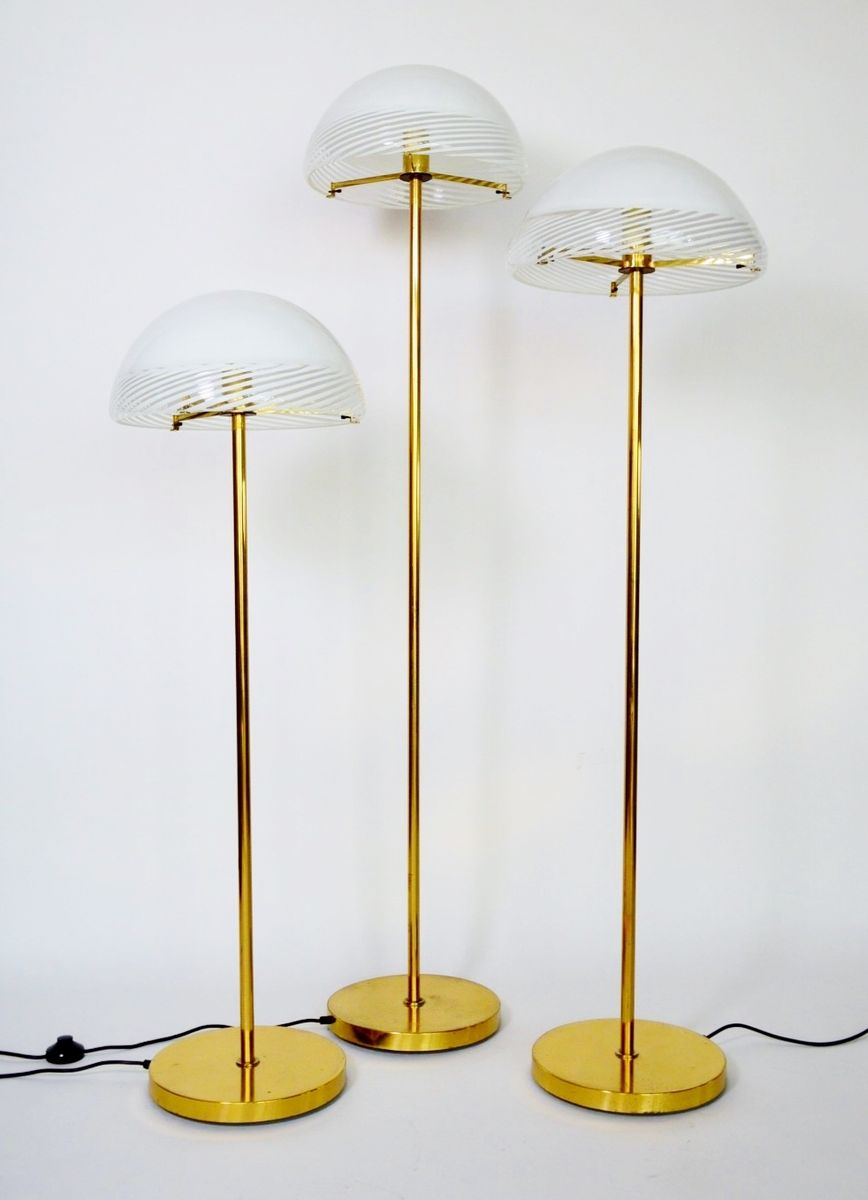 Regency style glass and brass floor lamps from murano for 1970s floor lamps