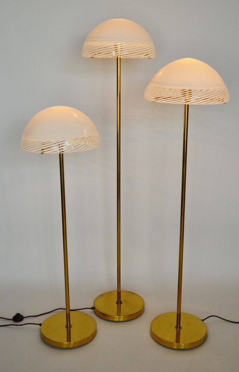 Regency style glass and brass floor lamps from murano 1970s set of 3 for sale at pamono for 1970s floor lamps
