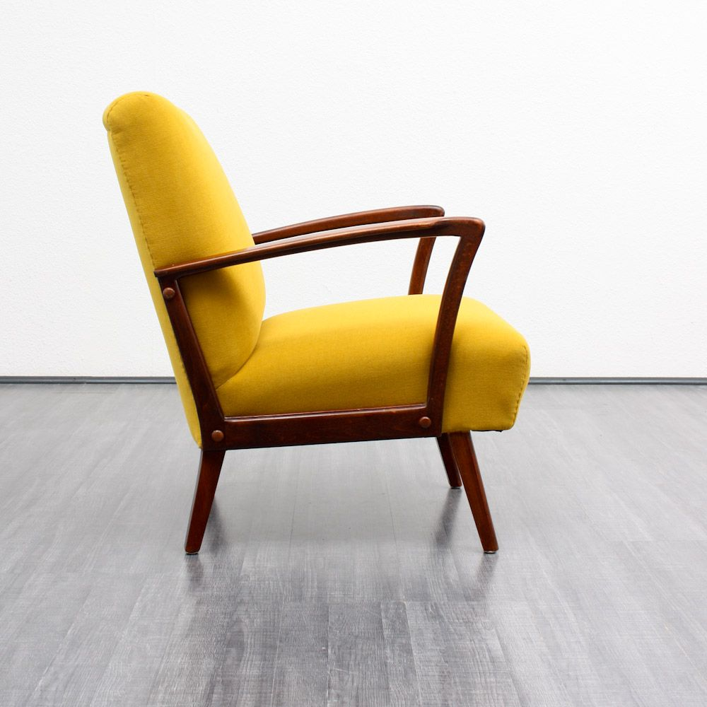 Vintage Beech Yellow Armchair 1960s For Sale At Pamono