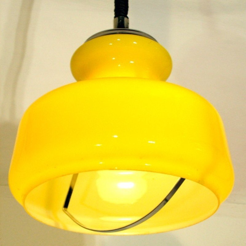 Vintage Italian Yellow Glass Ceiling Lamp, 1960s For Sale