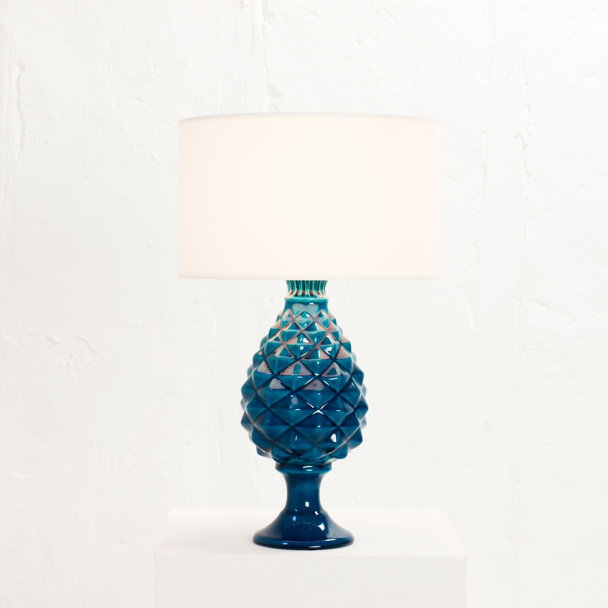 french light blue cracked ceramic table lamp by pol chambost 1970s. Black Bedroom Furniture Sets. Home Design Ideas
