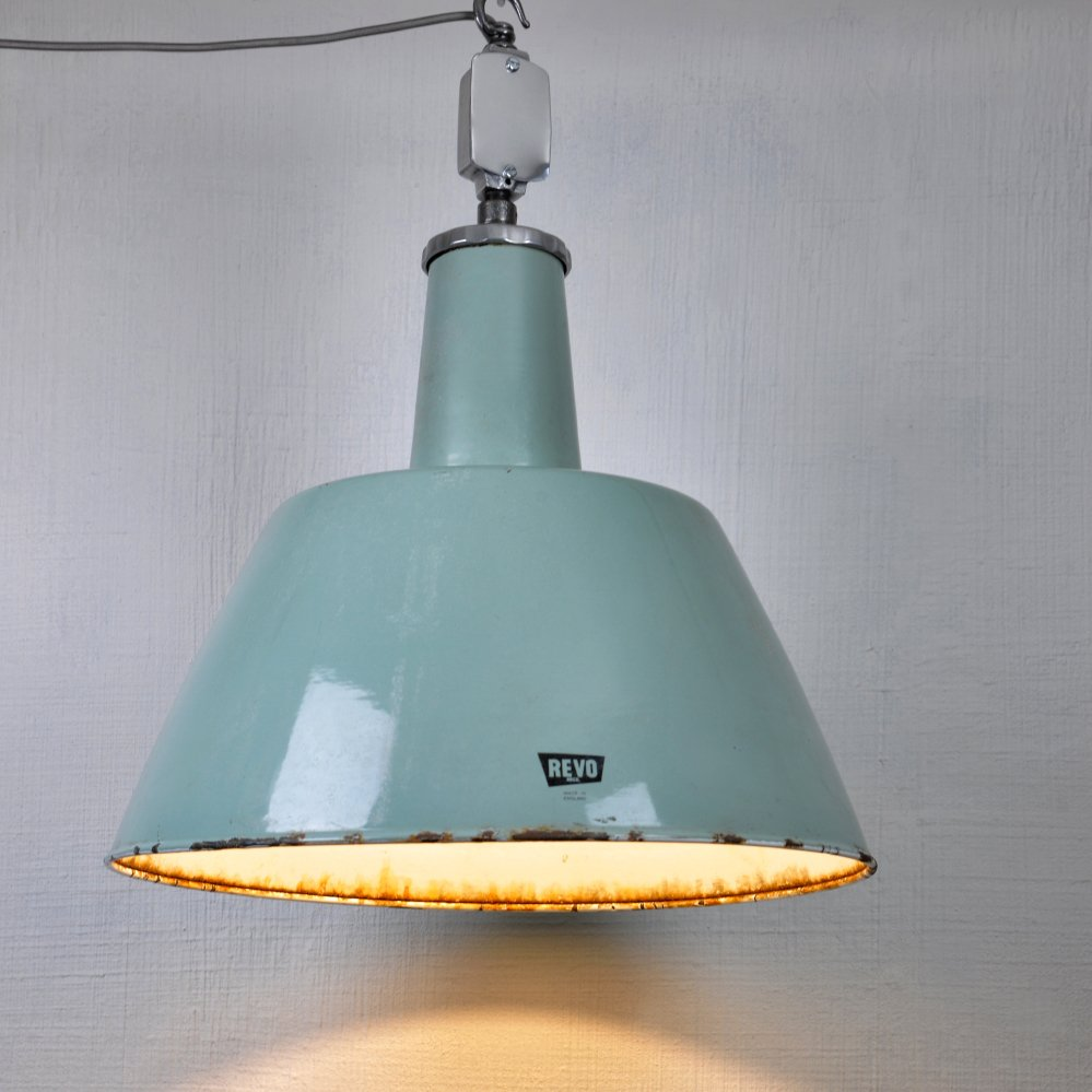 Green Enamel Wall Lights : Large British Grey/Green Enamel Ceiling Light from Revo for sale at Pamono