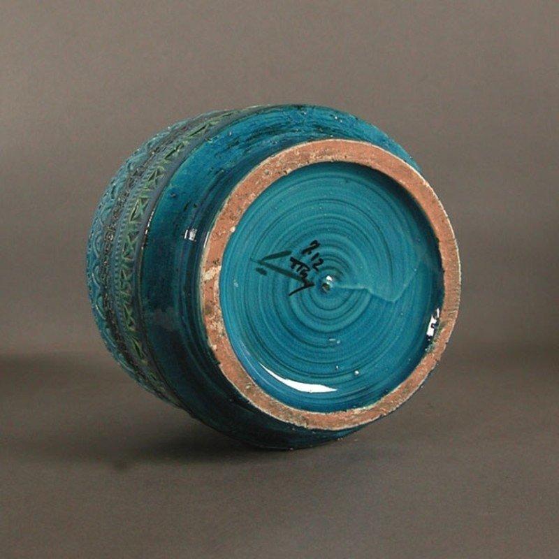 Italian Rimini Blu Ceramic Vase By Aldo Londi For Bitossi
