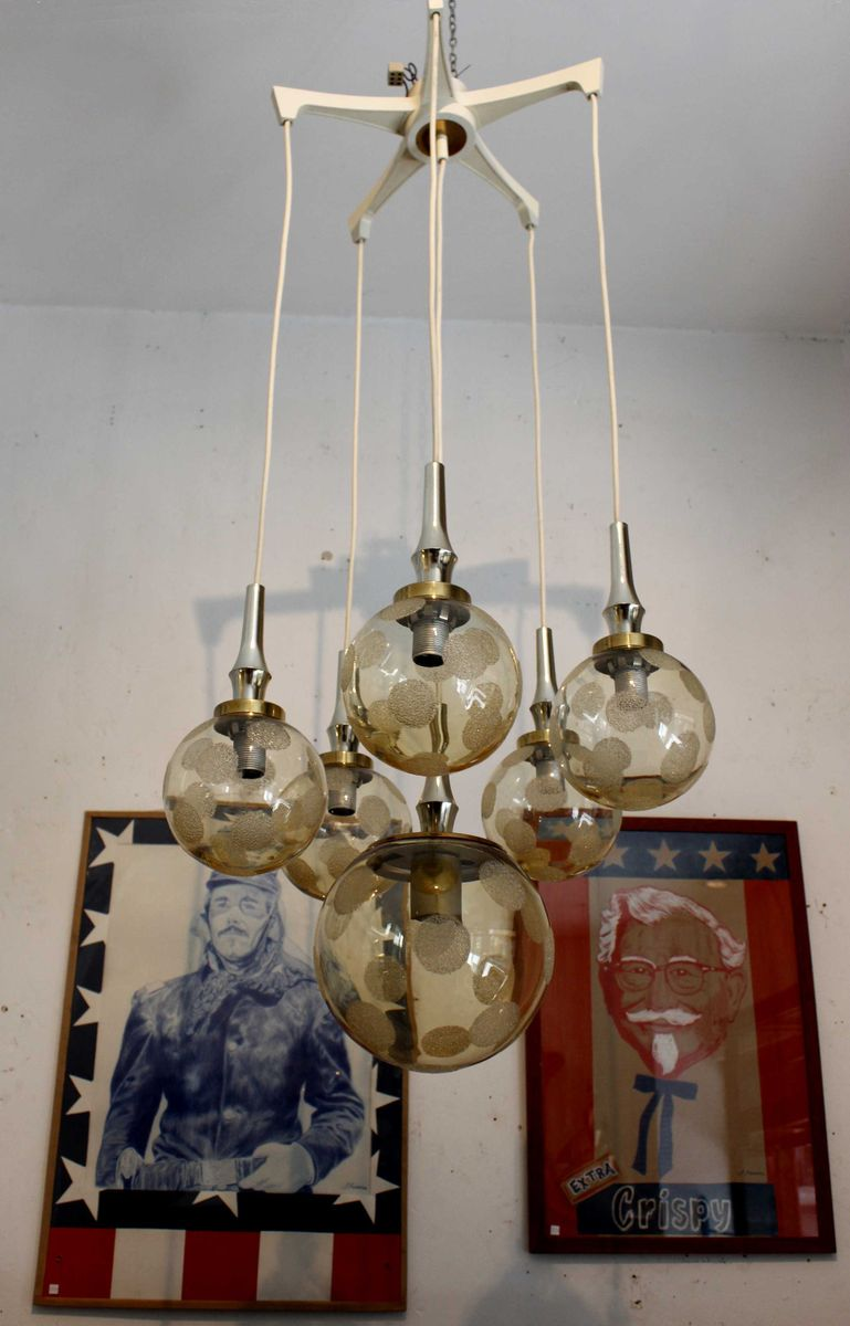 spanish ceiling lamp with six glass globes for sale at pamono. Black Bedroom Furniture Sets. Home Design Ideas
