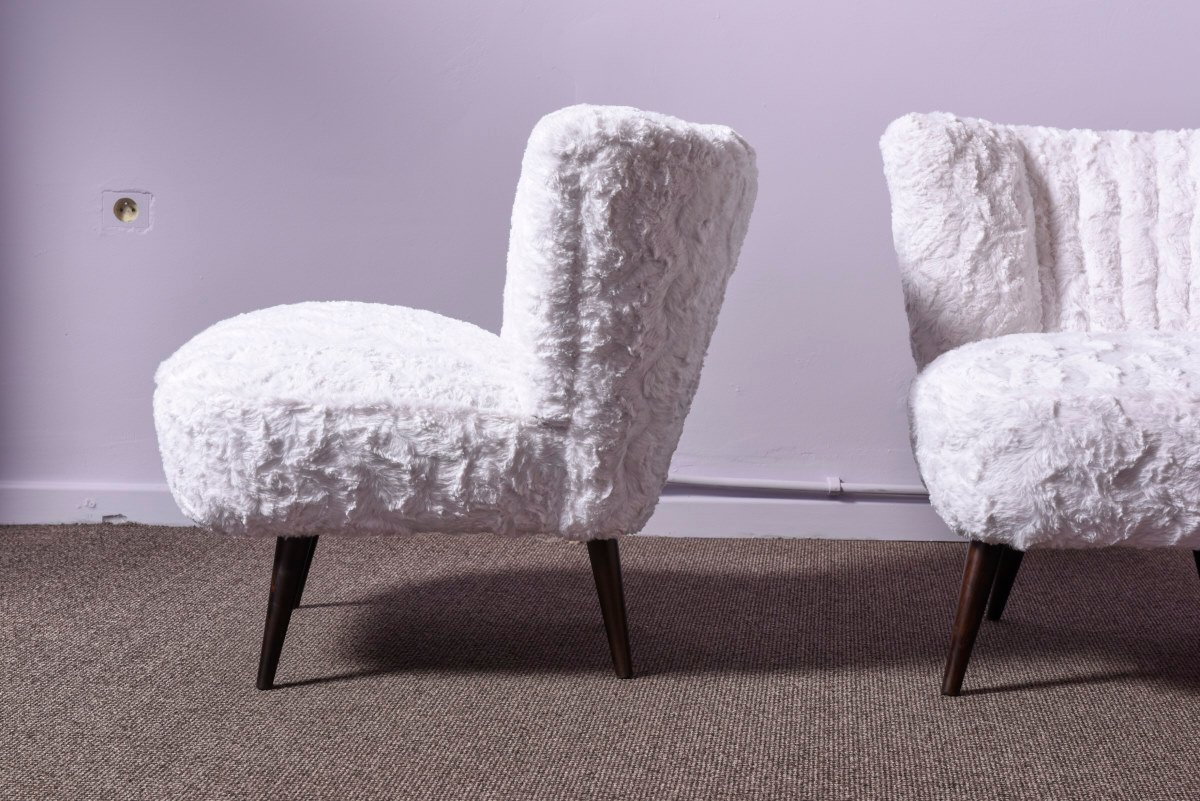 Mid Century Faux Fur Cocktail Chairs Set Of 2 For Sale At