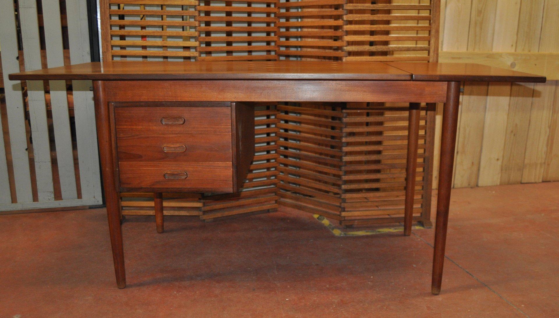 ausziehbarer d nischer teak schreibtisch von arne vodder 1960er bei pamono kaufen. Black Bedroom Furniture Sets. Home Design Ideas