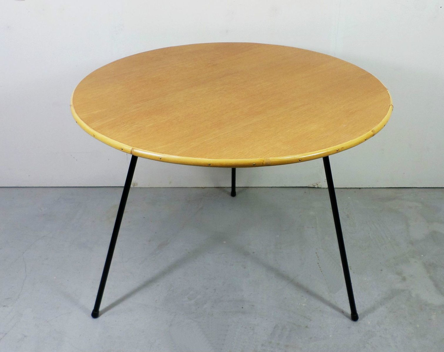 German oak bamboo and metal coffee table 1950s for sale at pamono geotapseo Choice Image