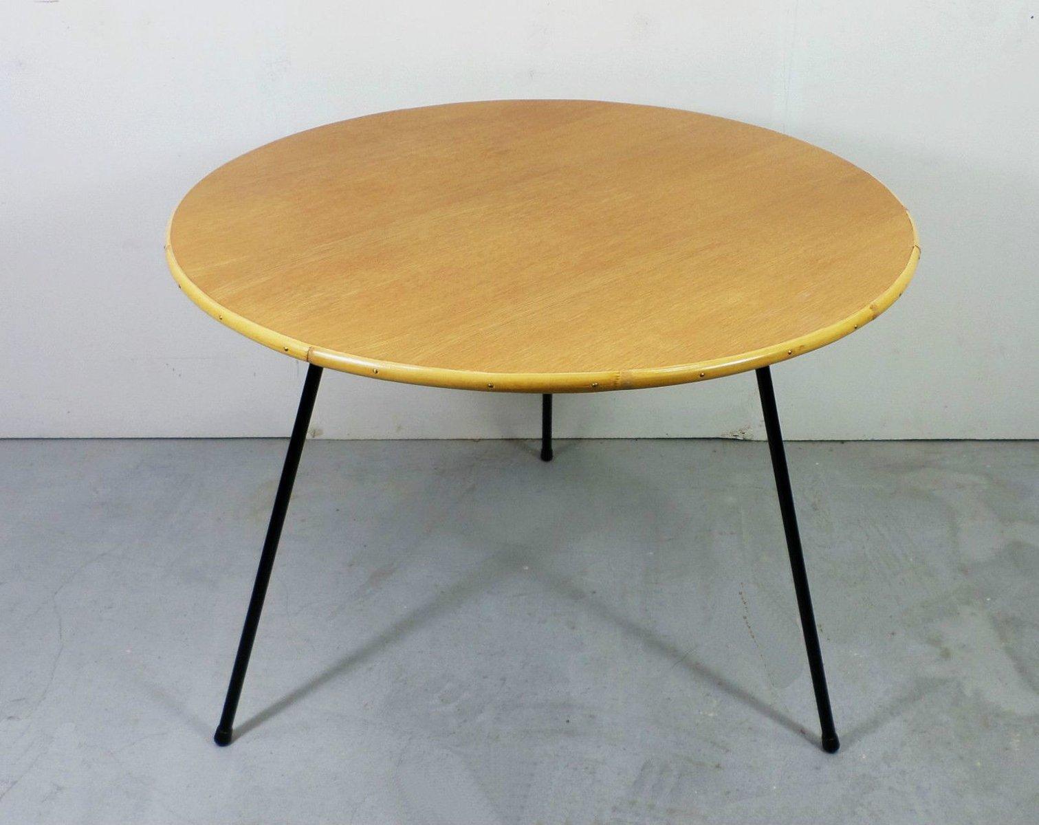 table basse en ch ne en bambou et en m tal allemagne 1950s en vente sur pamono. Black Bedroom Furniture Sets. Home Design Ideas