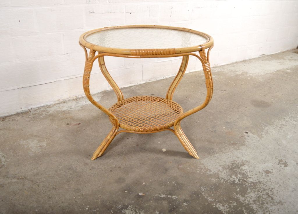 Vintage Rattan And Glass Coffee Table 1950s For Sale At Pamono