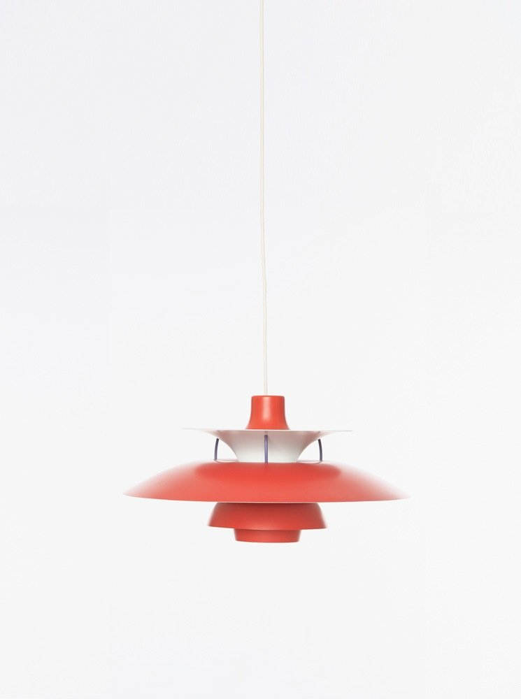 mid century red white ph5 pendant lamp by poul henningsen for louis poulsen 1950s for sale at. Black Bedroom Furniture Sets. Home Design Ideas