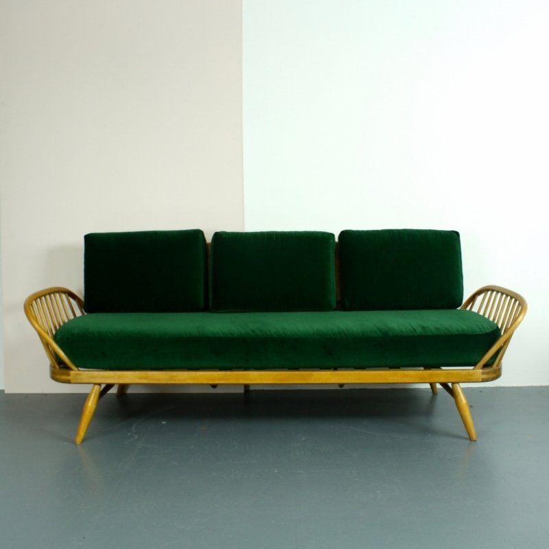 Vintage Blonde Beech Green Velvet Sofa By Lucian Ercolani For Ercol 1950s For Sale At Pamono