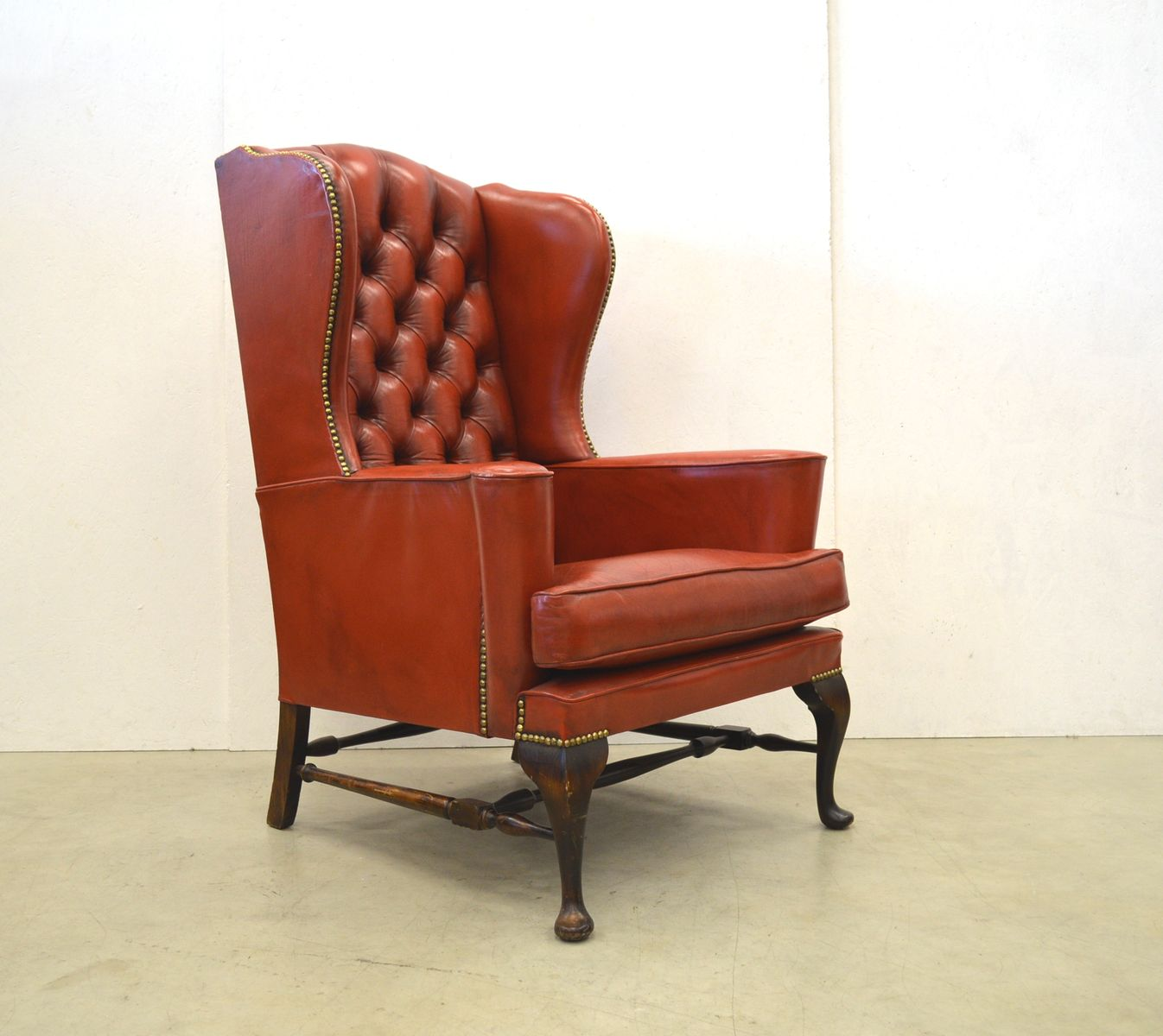 1960s Missoni Wingback Chair At 1stdibs: Vintage English Chesterfield Wingback Chair & Ottoman