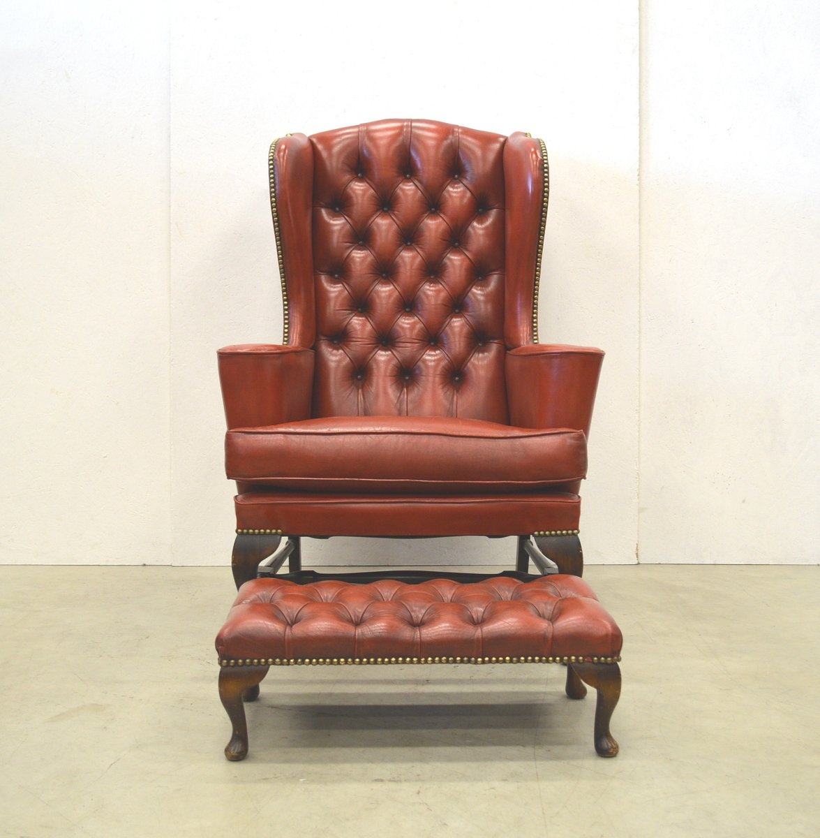 Wing back chair vintage - Vintage English Chesterfield Wingback Chair Ottoman 1960s