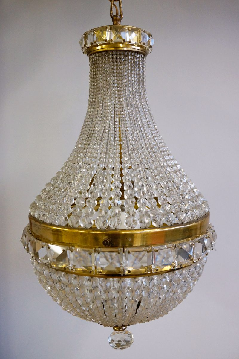 vintage brass and glass chandelier 1920s for sale at pamono