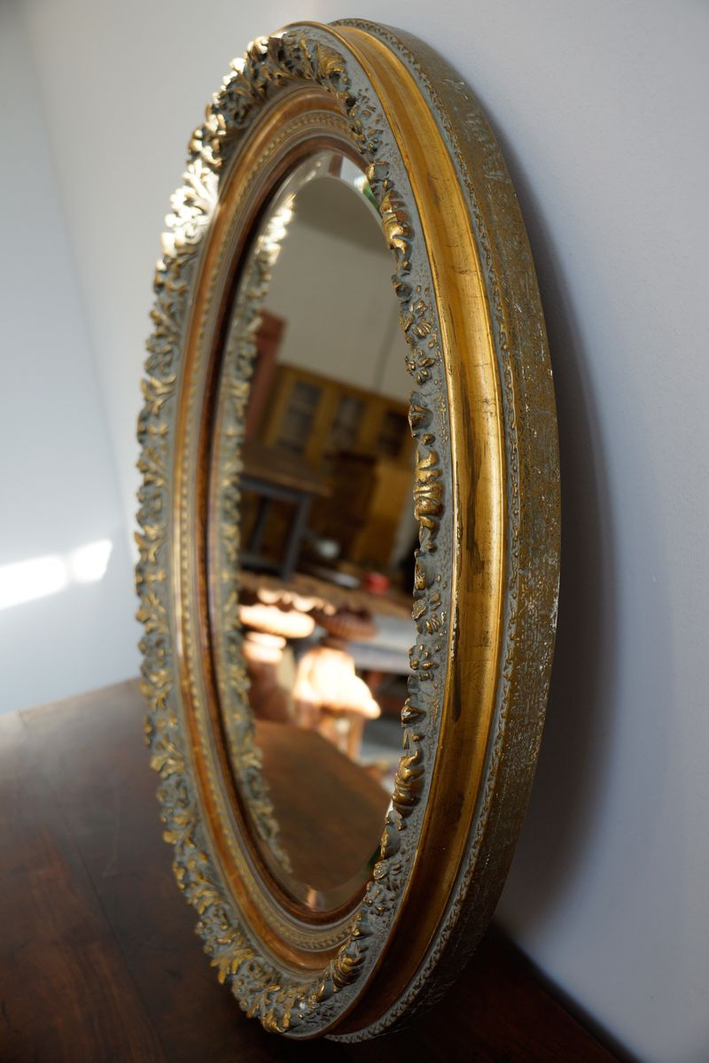 Large Antique Oval Wall Mirror 1820s For Sale At Pamono